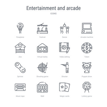 set of 16 entertainment and arcade concept vector line icons such as lottery game, magic cards, mall, music tape, puppet show, shooter, shooting game, spinner. 64x64 thin stroke icons