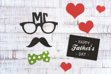 Happy Father's Day Greeting Card Concept With Men Silhouette Decor on Wooden Background