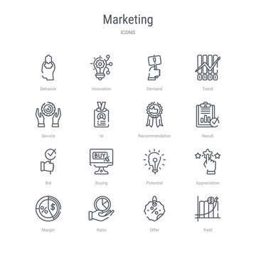 set of 16 marketing concept vector line icons such as yield, offer, ratio, margin, appreciation, potential, buying, bid. 64x64 thin stroke icons