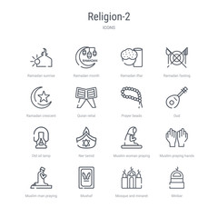 set of 16 religion-2 concept vector line icons such as minbar, mosque and minaret, mushaf, muslim man praying, muslim praying hands, muslim woman praying, ner tamid, old oil lamp. 64x64 thin stroke