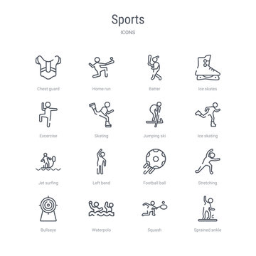 set of 16 sports concept vector line icons such as sprained ankle, squash, waterpolo, bullseye, stretching, football ball, left bend, jet surfing. 64x64 thin stroke icons