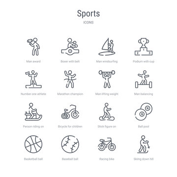 set of 16 sports concept vector line icons such as skiing down hill, racing bike, baseball ball, basketball ball with line, ball pool, stick figure on snowboard, bicycle for children, person riding