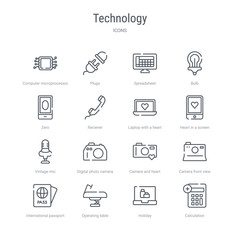 set of 16 technology concept vector line icons such as calculation, holiday, operating table, international passport, camera front view, camera and heart picture, digital photo camera, vintage mic.