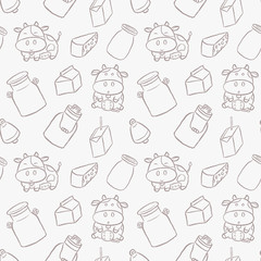 Cute dairy cows hand drawn cartoon style seamless pattern. Vector illustration wallpaper and background. Kawaii cartoon design.