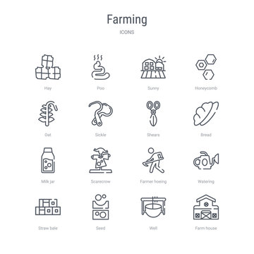 set of 16 farming concept vector line icons such as farm house, well, seed, straw bale, watering, farmer hoeing, scarecrow, milk jar. 64x64 thin stroke icons