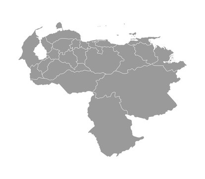 Vector isolated illustration of simplified administrative map of Venezuela. Borders of the provinces (regions). Grey silhouettes. White outline