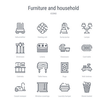 set of 16 furniture and household concept vector line icons such as waste basket, laundry hamper, window coverings, carpet sweeper, wall shelves, rugs, table linens, cabinets. 64x64 thin stroke