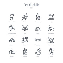 set of 16 people skills concept vector line icons such as singer, writer, bartender, builder, programmer, chessplayer, filmmaker, cyclist. 64x64 thin stroke icons