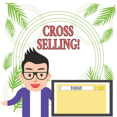 Conceptual hand writing showing Cross Selling. Concept meaning to sell complementary products to an existing customer