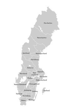 Vector isolated illustration of simplified administrative map of Sweden. Borders and names of the counties (regions). Grey silhouettes. White outline