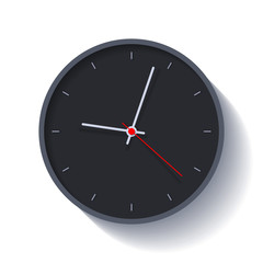 Clock icon in flat style, round black timer on white background. Four minutes past nine. Simple watch. Vector design element for you business projects