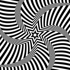 Illusion of rotation movement. Star pattern.  Lines texture.