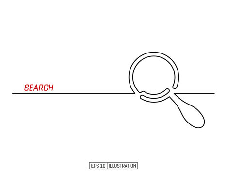 Continuous line drawing of magnifying glass. Search symbol. Template for your design. Vector illustration.