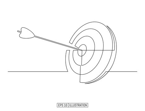 Continuous line drawing of arrow in center of target. Template for your design works. Vector illustration.