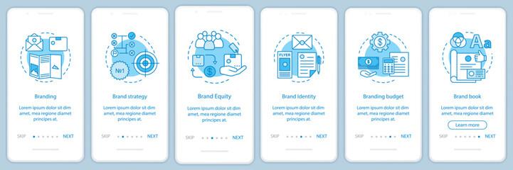 Branding onboarding mobile app page screen vector template