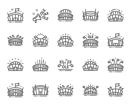 Sports stadium line icons. Ole chant, arena football, championship architecture. Arena stadium, sports competition, event flag icons. Sport complex, megaphone or loudspeaker. Vector