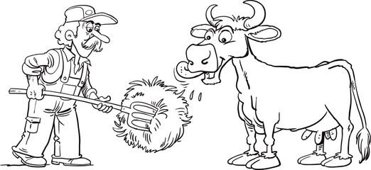 Fotobehang Doe het zelf Farmer feed cow