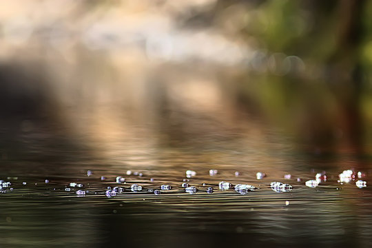 bubbles on the surface of the water stream / clear natural water, fast current, small river abstract background