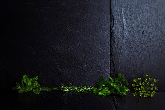Menu background, herbs with blank.