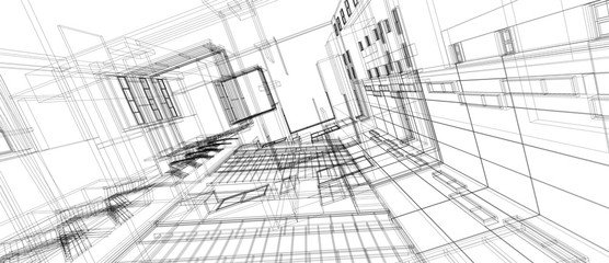 Architecture building space design concept 3d perspective wire frame rendering isolated white background. For abstract background or wallpaper desktops computer technology design architectural theme.