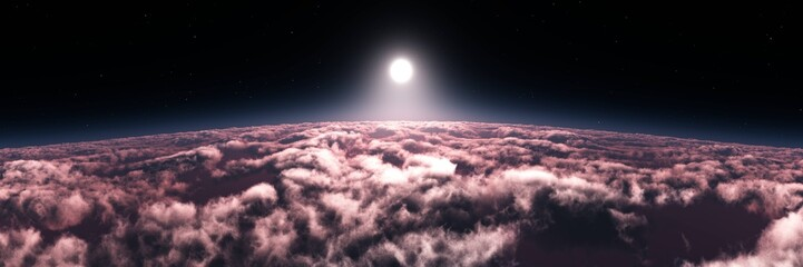 star rising over the planet, the sun Above the clouds, in the clouds, cloudy background, 3d rendering