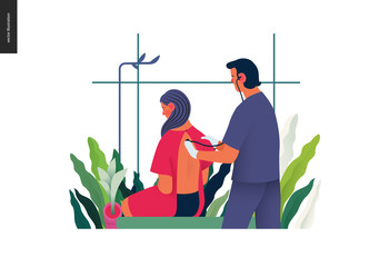 Medical tests template - auscultation - modern flat vector concept digital illustration of stethoscope examination procedure - patient and doctor carrying out procedure, medical office or laboratory
