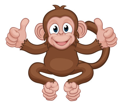 A monkey cute happy cartoon character animal giving a double thumbs up