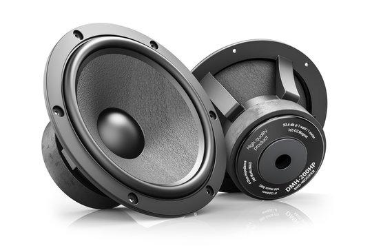 Two black HI-Fi loudspeakers isolated on white background