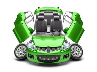 Concept of car spare parts. 3d render