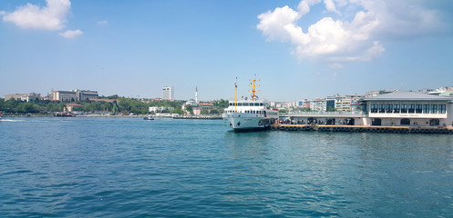 Kadikoy, Istanbul sea view with Ferry Boat and Eminonu-Karakoy Port