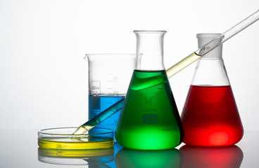 Chemical science glass on white background