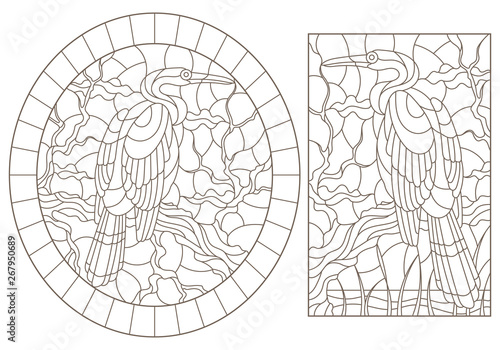 Set of contour illustrations of stained glass Windows with