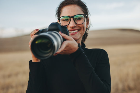 Photographer working at outdoors location