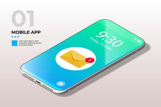 Modern Mobile Cell Phone with Notification of a New Email UI, UX and GUI Template in Trendy Blue, Green Gradient. Template for E-commerce, Responsive Website and Mobile Apps.