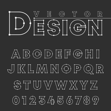 Vector design alphabet font template. Letters and numbers line design