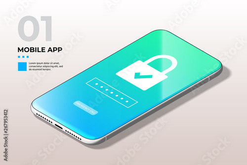 Privacy Concept  Modern Mobile Cell Phone with Lock Screen UI, UX