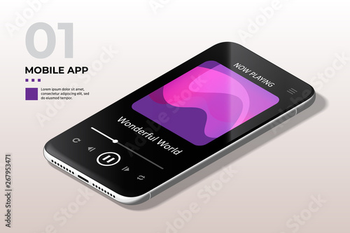 Modern Mobile Cell Phone with Music Media Player UI, UX and GUI