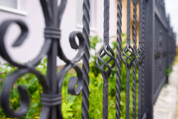 wrought iron fence close up