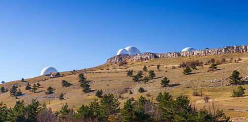 Radar station on the mountain in Crimea