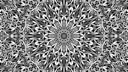 Grey abstract botanical ornate mandala pattern background - tribal vector illustration