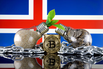 Bitcoin (BTC), green renewable energy concept, and Iceland Flag. Electricity prices, energy saving in the cryptocurrency mining business.