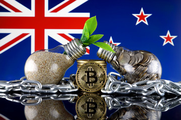 Bitcoin (BTC), green renewable energy concept, and New Zealand Flag. Electricity prices, energy saving in the cryptocurrency mining business.