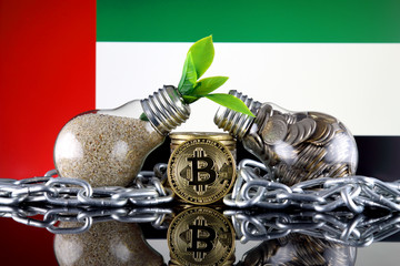 Bitcoin (BTC), green renewable energy concept, and United Arab Emirates Flag. Electricity prices, energy saving in the cryptocurrency mining business.