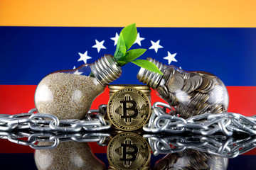 Bitcoin (BTC), green renewable energy concept, and Venezuela Flag. Electricity prices, energy saving in the cryptocurrency mining business.