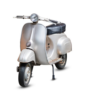 Gray Retro Motorcycle isolated on white background