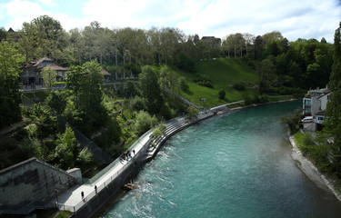 The Bear Pit (Baerengraben) is pictured near the Aar river in Bern