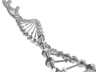 DNA Helix with gear instead molecules transmitted. Genetic modify science and medicine concept 3d illustration isolated