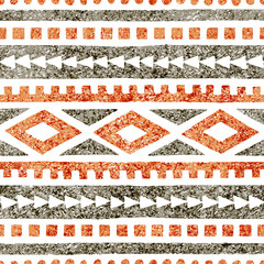 Seamless ethnic pattern. Geometric ornament drawn in pencil. Gray and orange shades on a white background. Vector illustration.