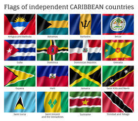 Wavy flags of independent Caribbean countries