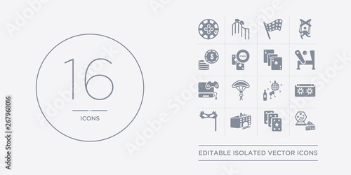 16 vector icons set such as lottery game, magic cards, mall